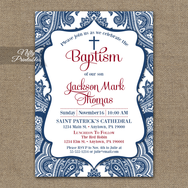 Navy Blue Baptism Invitations Red White Blue Nifty Printables