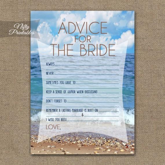 Bridal Shower Advice Cards - Ocean Beach