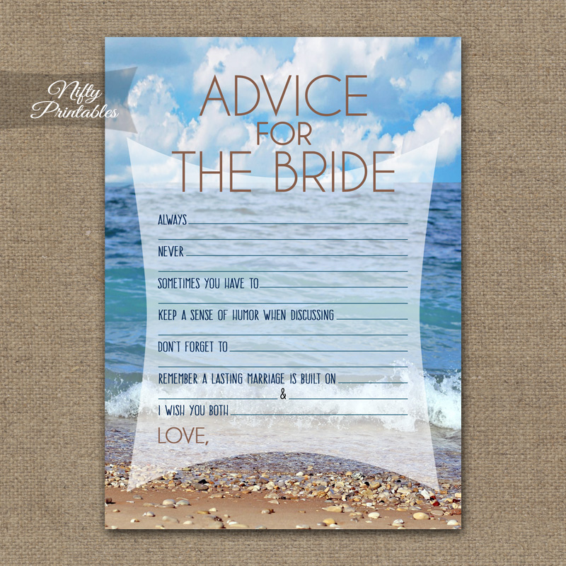 Bridal Shower Advice Cards - Ocean Beach