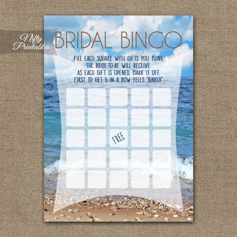 Bridal Shower Bingo Game - Ocean Beach