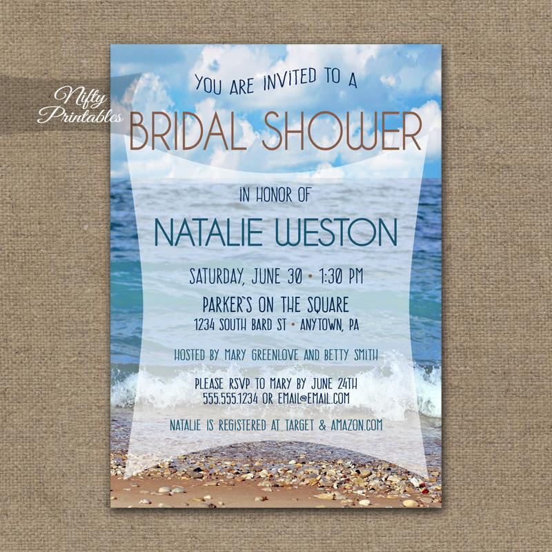 Ocean Beach Bridal Shower Invitation