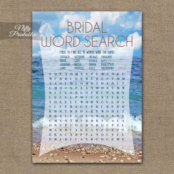 Bridal Shower Word Search Game - Ocean Beach