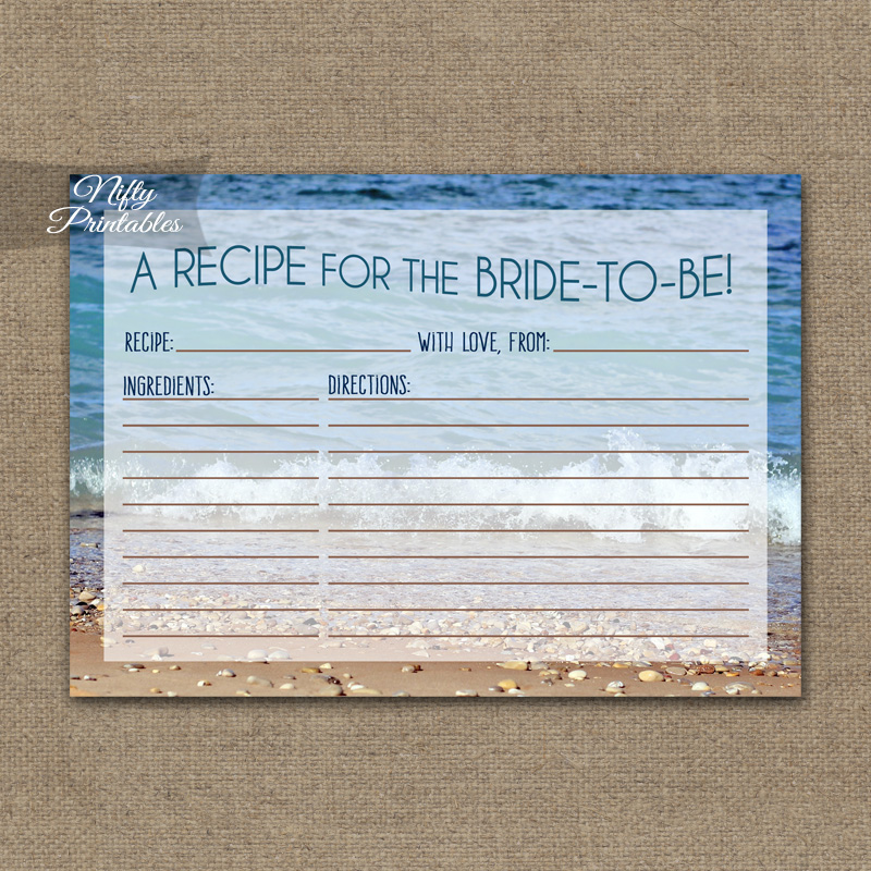 Bridal Shower Recipe Cards - Ocean Beach