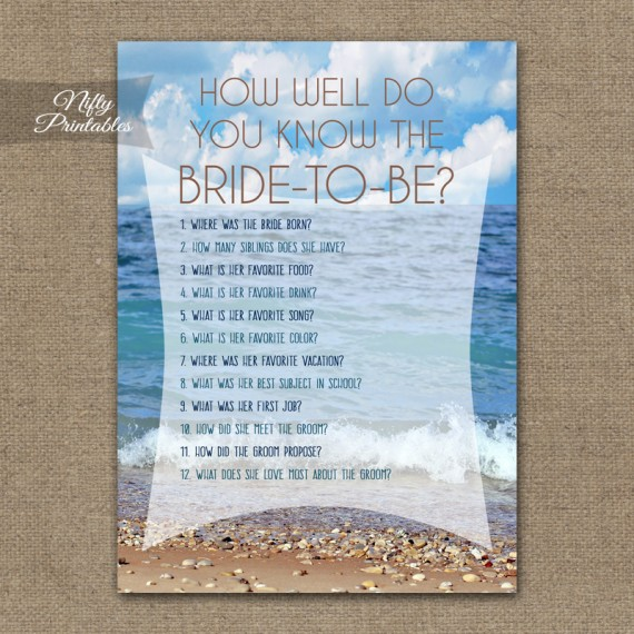 How Well Do You Know The Bride - Ocean Beach