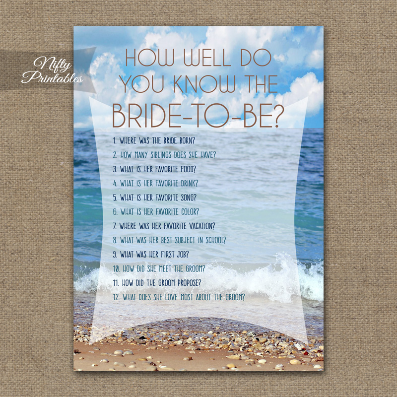 How Well Do You Know The Bride - Ocean Beach