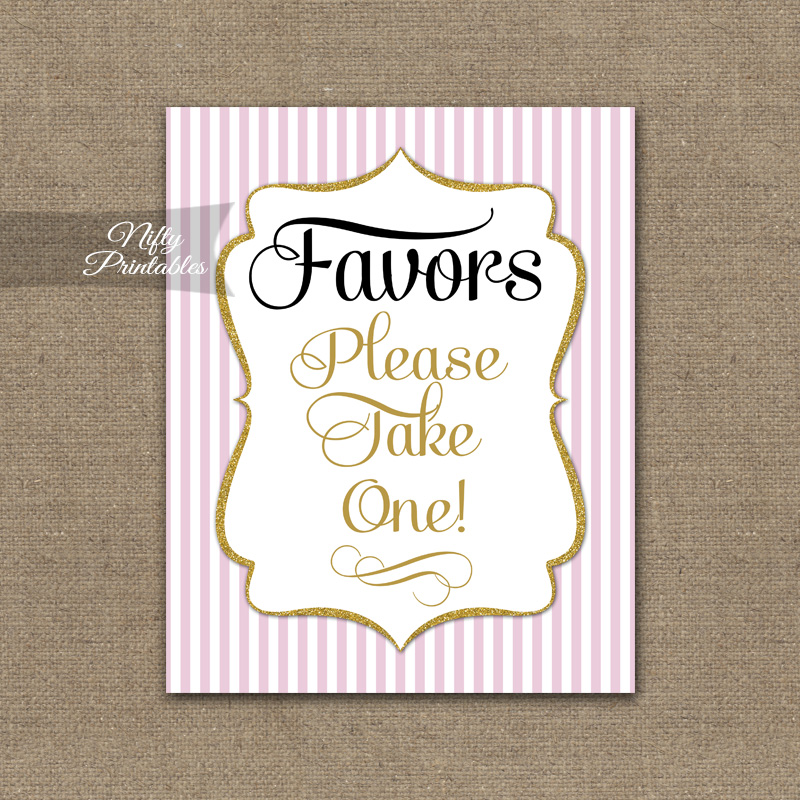Favors Sign - Pink Gold
