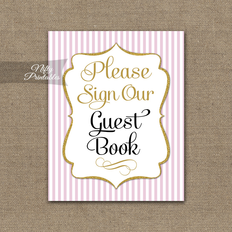 Guest Book Sign - Pink Gold