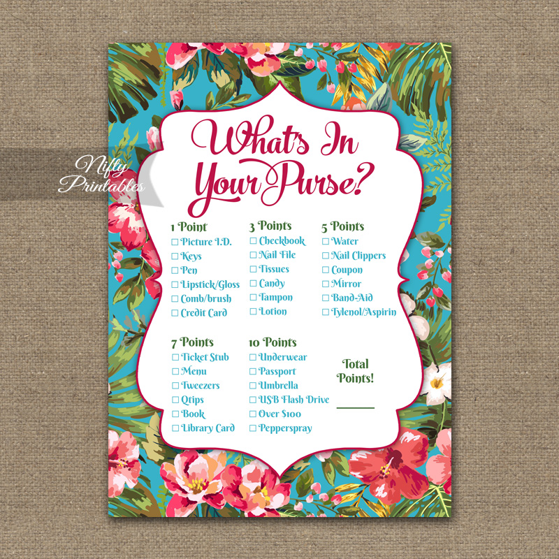 picture about What's in Your Purse Free Printable known as Whats Inside of Your Purse Match - Tropical Luau