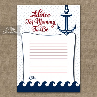 Advice For Mommy Baby Shower Game - Red Nautical