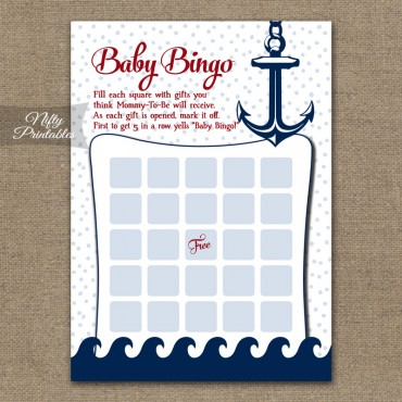 Baby Shower Bingo Game - Red Nautical