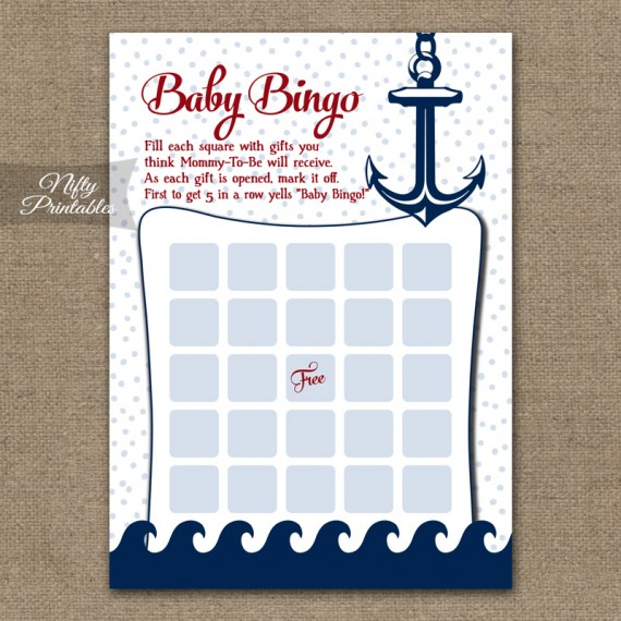Baby Shower Bingo Game - Red Nautical
