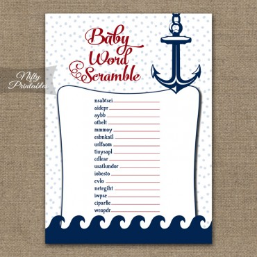 Baby Shower Word Scramble Game - Red Nautical