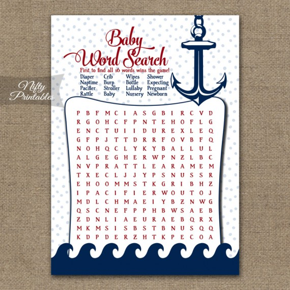 Baby Shower Word Search Game - Red Nautical
