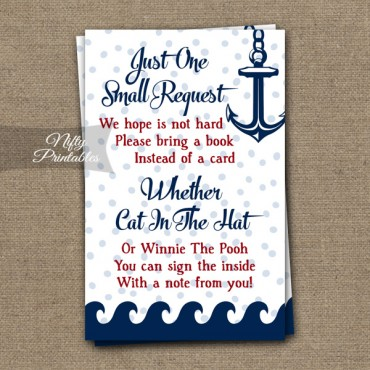 Bring A Book Baby Shower Insert - Red Nautical