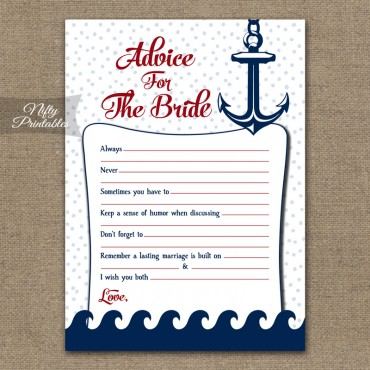 Bridal Shower Advice Cards - Red Nautical