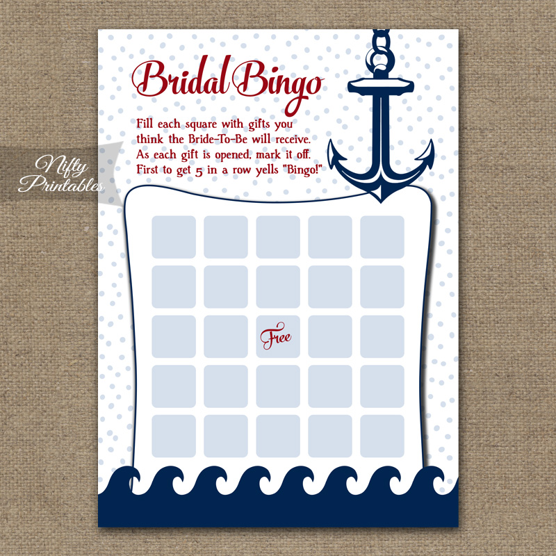 Bridal Shower Bingo Game - Red Nautical