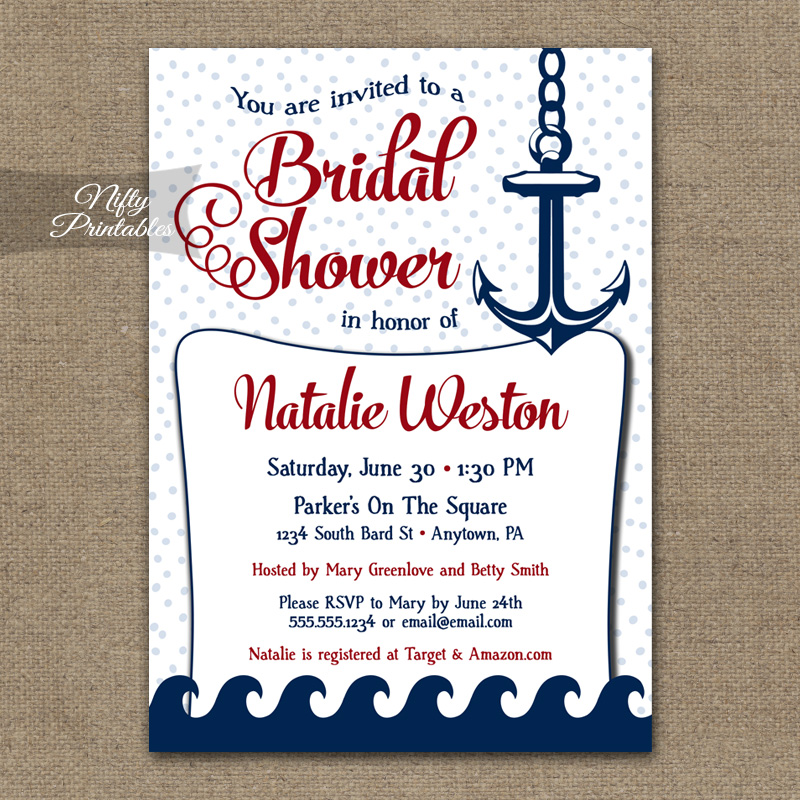 Red Nautical Bridal Shower Invitation Red Nautical Nifty Printables