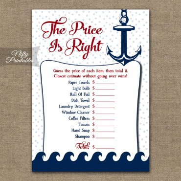 Price Is Right Bridal Shower Game - Red Nautical