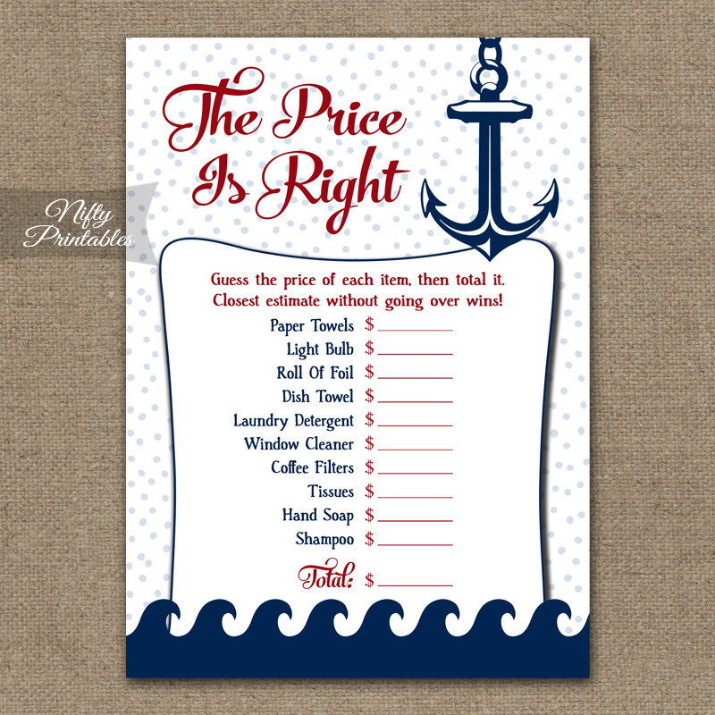 price is right bridal shower game red nautical