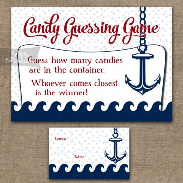 Candy Guessing Game - Red Nautical