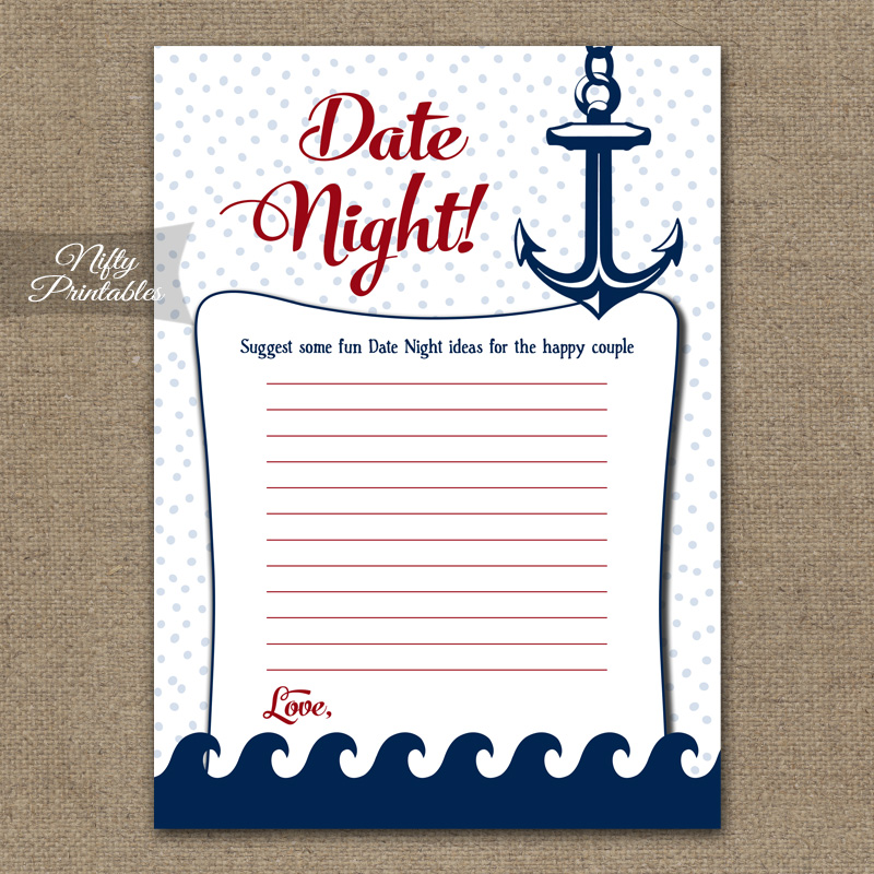 Bridal Shower Date Night Ideas - Red Nautical