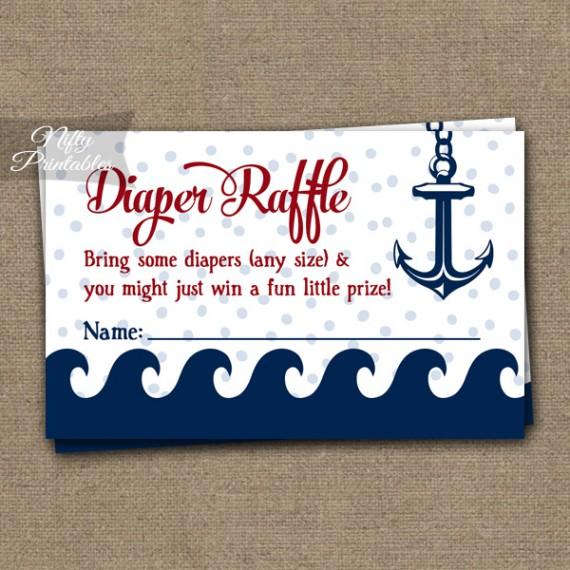 Diaper Raffle Baby Shower - Red Nautical