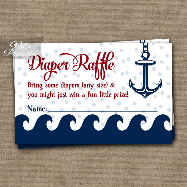 Diaper Raffle Baby Shower - Red Nautical