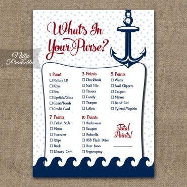 What's In Your Purse Game - Red Nautical