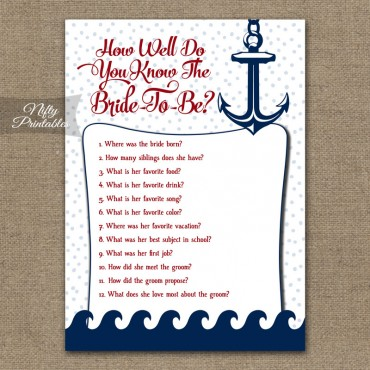How Well Do You Know The Bride - Red Nautical