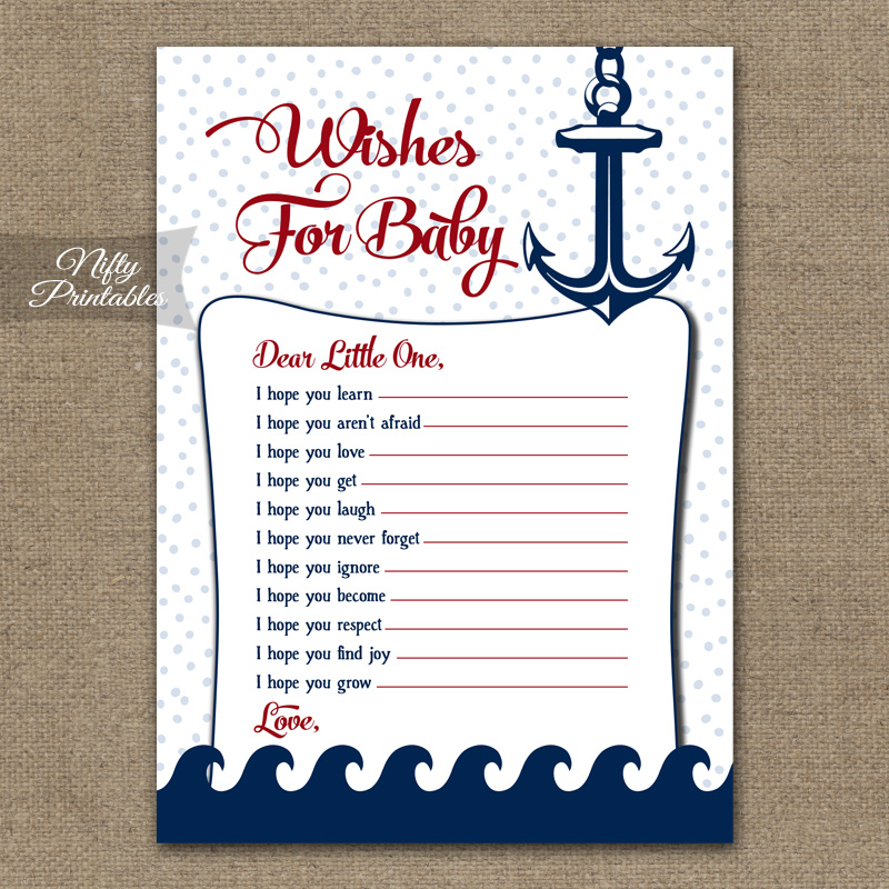 Wishes For Baby Shower Game - Red Nautical