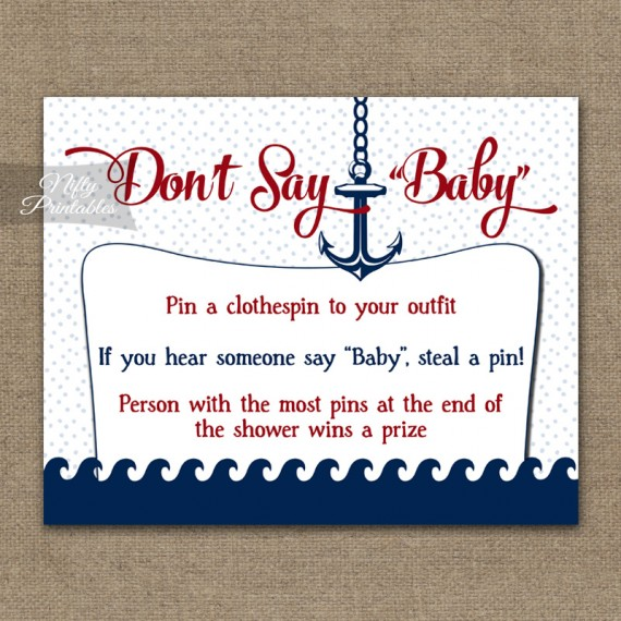 Don't Say Baby Shower Game - Red Nautical