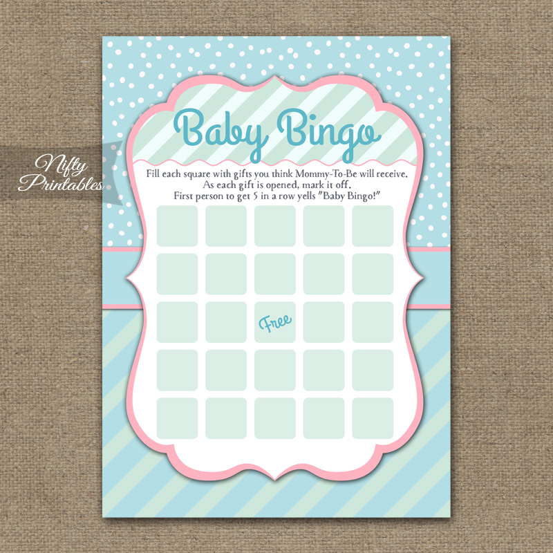 Baby Shower Bingo Game - Turquoise Pink Whimsey
