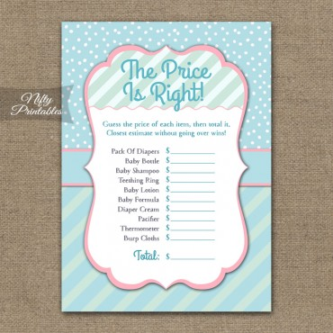 Price Is Right Baby Shower Game - Turquoise Pink Whimsey