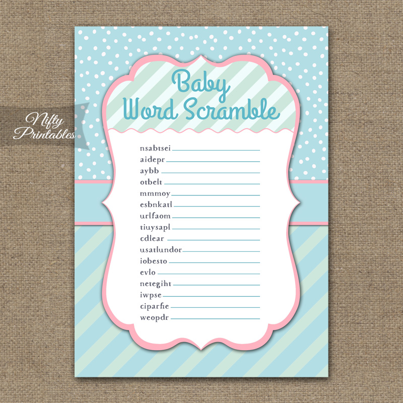 Baby Shower Word Scramble Game Turquoise Pink Whimsey