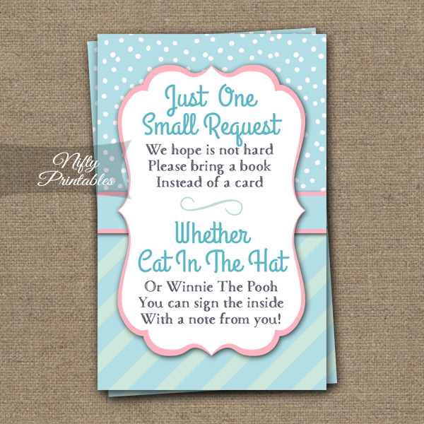 Bring A Book Baby Shower Insert - Turquoise Pink Whimsey