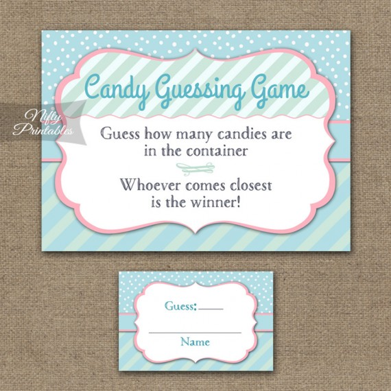 Candy Guessing Game - Turquoise Pink Whimsey