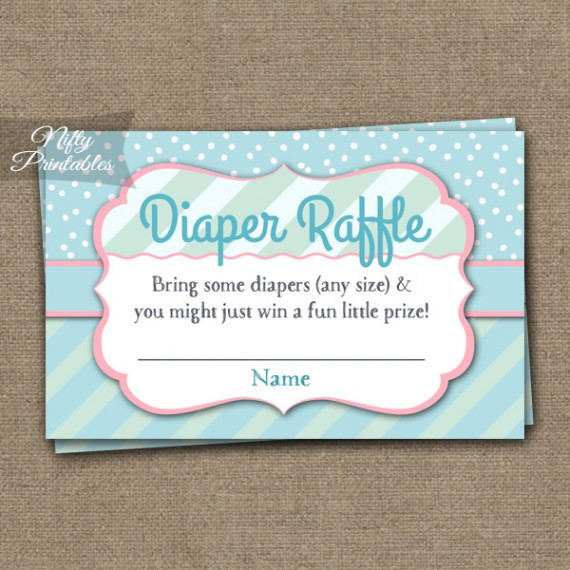 Diaper Raffle Baby Shower - Turquoise Pink Whimsey