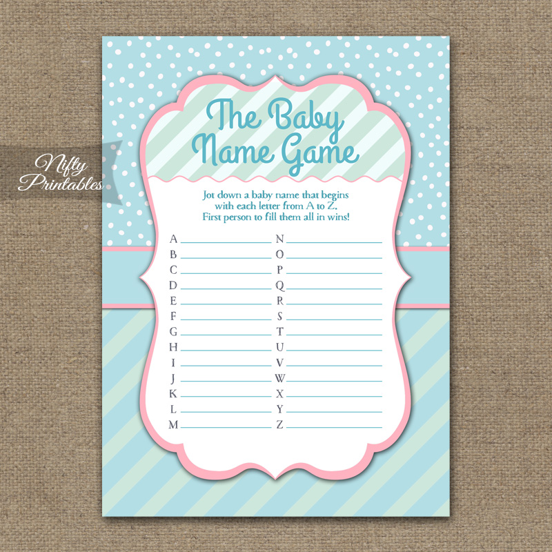 Name Game Baby Shower - Turquoise Pink Whimsey