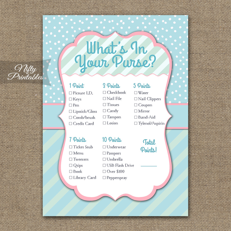 What's In Your Purse Game - Turquoise Pink Whimsey
