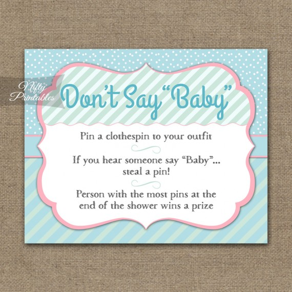 Don't Say Baby Shower Game - Turquoise Pink Whimsey