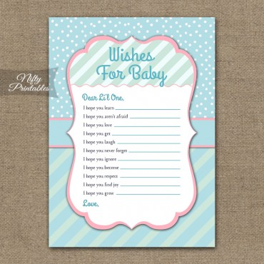 Wishes For Baby Shower Game - Turquoise Pink Whimsey