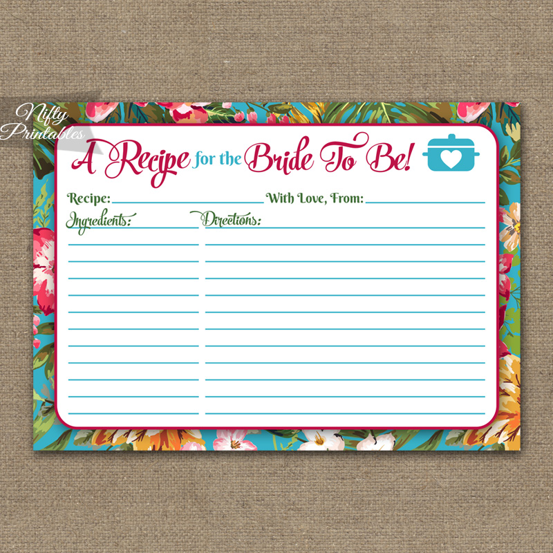 Bridal Shower Recipe Cards - Tropical Luau