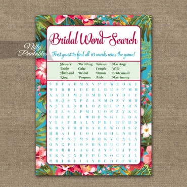 Bridal Shower Word Search Game - Tropical Luau