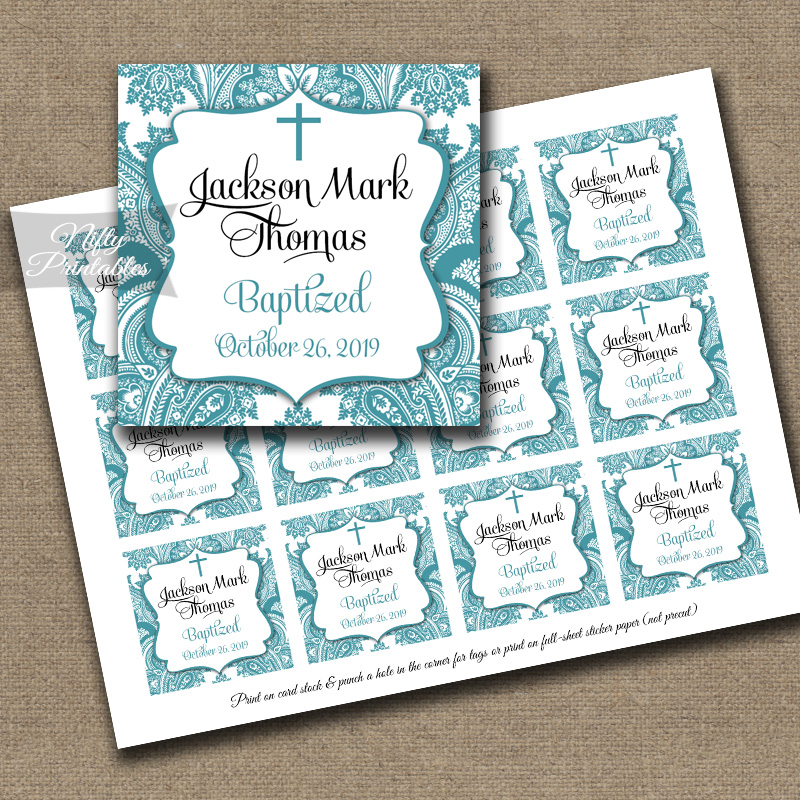 Teal Damask Baptism Favor Tags