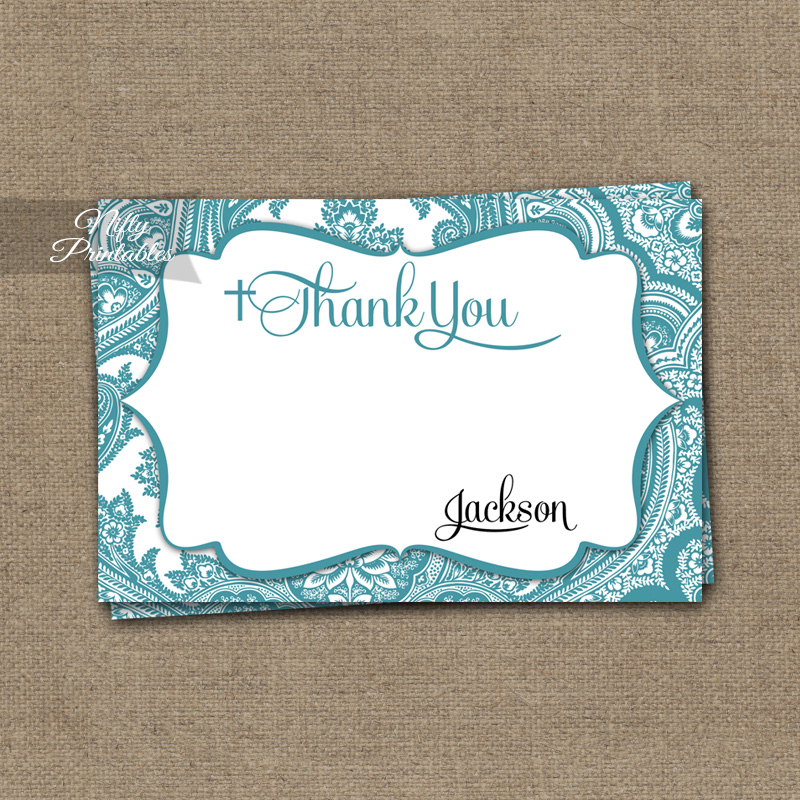 Teal Damask Baptism Invitations - Turquoise