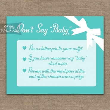 Don't Say Baby Shower Game - Tiffany Blue