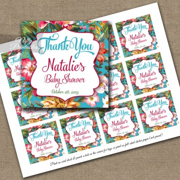 Tropical Hawaiian Luau Thank You Favor Tags
