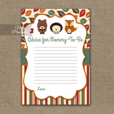 Advice For Mommy Baby Shower Game - Woodland Baby