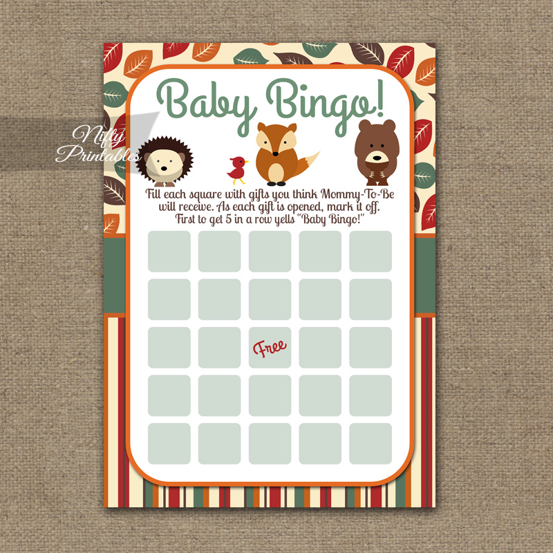 Baby Shower Bingo Game - Woodland Baby