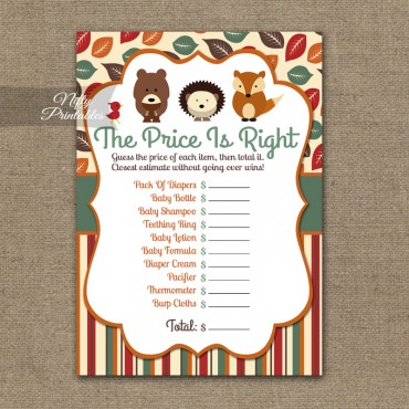 Price Is Right Baby Shower Game - Woodland Baby